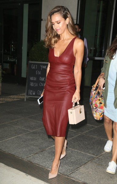 Jessica Alba Leather Dress
