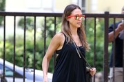 Actress Jessica Alba and her husband Cash Warren take their daughters Honor and Haven to the Beverly Glen Park in Beverly HIlls, California on August 4, 2012. Cash was trying to teach Haven how to blow bubbles and she was doing a pretty good job.