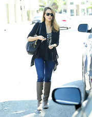 Jessica Alba was cool and casual in suede knee-high boots.