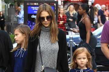 Jessica Alba Honor Warren Jessica Alba and Her Family Visit the Santa House at The Grove
