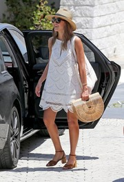 Jessica Alba paired her LWD with tan block-heeled sandals by Louise et Cie.