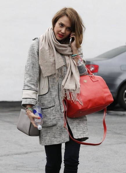 Jessica Alba Leather Coat