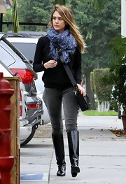 Jessica Alba went to breakfast in a pair of low-key, black patent leather boots.