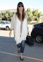 Jessica Biel styled her travel outfit with a fabulous pair of sequined suede loafers by Tod's.