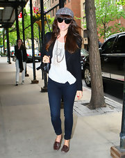 Jessica Biel paired her casual outfit with comfy brown loafers while out in NYC.