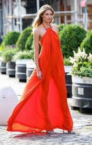 Jessica Hart was a red-hot goddess in this billowy halter dress during a photo shoot in New York City.