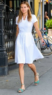 Jessica Hart was spotted out in NYC dressed like a little girl in this scalloped white number.