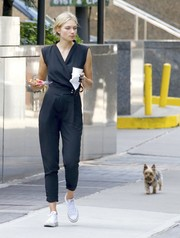 Jessica Hart was casual yet stylish in a black wrap jumpsuit while out in New York City.