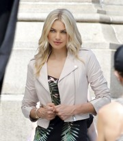 Jessica Hart modeled this classic leather moto jacket during a photoshoot in New York City.