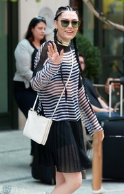 Jessie J accessorized with a pair of modern square sunnies for a day out in New York City.