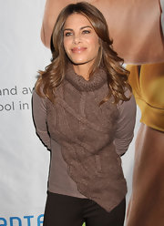 Jillian Michaels attended the Consumer Electronics Show wearing a brown turtleneck.
