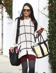 Jordana Brewster ran errands carrying a monochrome canvas tote along with her Hermes shoulder bag.