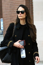Jordana Brewster headed out in Beverly Hills wearing stylish cateye sunglasses.