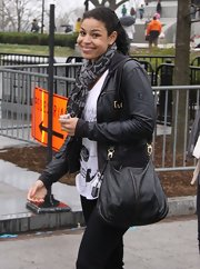Jordin Sparks chose a basic black leather jacket for her rehearsal look while practicing for her performance at the White House.