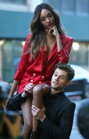 Jourdan Dunn was a knockout in a short red blazer dress while doing a photoshoot in New York City.