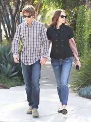 Julia Roberts donned a short-sleeved fitted jacket for a walk through Santa Monica.