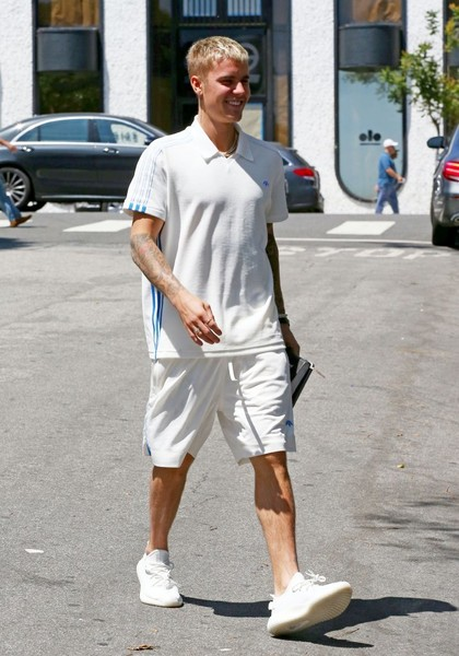 Justin Bieber matched her top with a pair of adidas Originals by Alexander Wang shorts.
