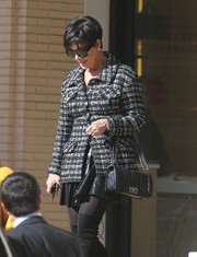 Kris Jenner did her Christmas shopping looking stylish in a black-and-white tweed jacket.