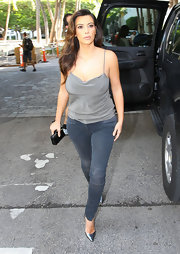 Rugged points of wear gave Kim's jeans a vintage sensibility.