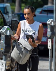 Karrueche Tran went out for lunch in LA carrying a luxurious quilted backpack by Chanel.