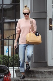 Kate Bosworth was cozy and cute in a pink crewneck sweater by Frame while out at Gracias Madre.