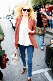 Kate wears skinny acid washed jeans while out and about in LA.