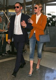 Kate Bosworth wore an ochre blazer with her jeans for a smarter finish.