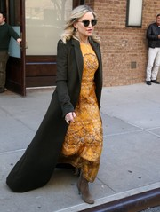 Kate Hudson was a lovely drop of sunshine in this yellow print maxi dress by Paule Ka while out in New York City.