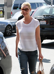 Katherine Heigl looked low-key in a sheer white sweater.