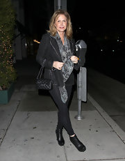 Kathy Hilton added a bit of sexiness to her ensemble with a pair of black leggings.