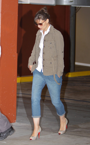 More Pics of Katie Holmes Utility Jacket (1 of 10) - Outerwear Lookbook - StyleBistro []