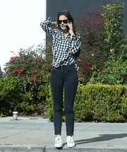 Katie Holmes completed her comfy ensemble with white leather sneakers.