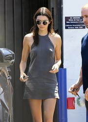 Kendall Jenner looked hip wearing a pair of round sunnies by Retrosuperfuture while leaving a production studio.