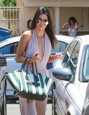 Kendall Jenner's gold Linda Farrow aviators were a super-cool way to keep the rays out.