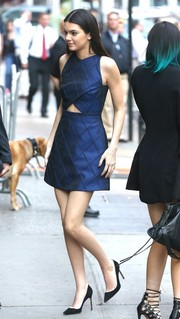 Kendall Jenner visited 'Good Morning America' looking fab in a diamond-patterned cutout dress by Camilla and Marc.