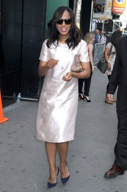 Kerry Washington looked vintage-glam in a pale pink silk cocktail dress during a visit to 'Good Morning America.'