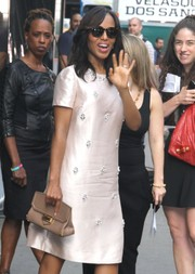 Kerry Washington teamed a nude leather clutch with an embellished silk dress for her visit to 'Good Morning America.'