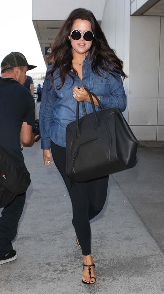 Khloe Kardashian Leather Shoulder Bag