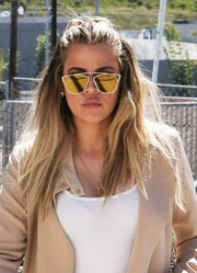 Khloe Kardashian looked very modern wearing these gold Dior Technologic shades while out and about in Van Nuys.