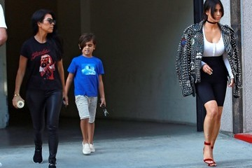 Kim Kardashian Mason Disick Kim and Kourtney Kardashian Leave a Meeting in Calabasas
