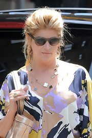 Kirstie Alley made her casual outfit chicer with a layered gold necklace during a trip to New York.
