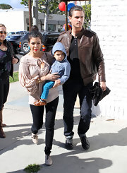 Mason Disick wore a pair of slip-on baby moccasins.  Cute!