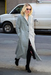 Kristen Bell was warm and stylish in a gray wool coat while out in Manhattan.