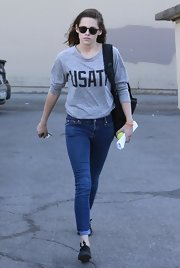 Kristen Stewart wore a gray graphic sweatshirt while out in Beverly Hills.