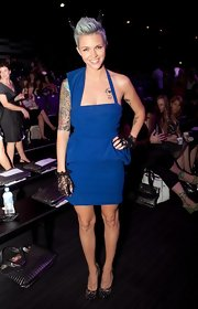 Ruby looked rocker-chic in a bold blue cocktail dress with edgy accessories.