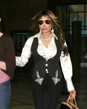 La Toya Jackson showed off her love of glitz and glam with this vest with silver beaded embellishments.