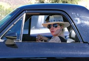 Lady Gaga headed to a meeting wearing a cool studded hat.