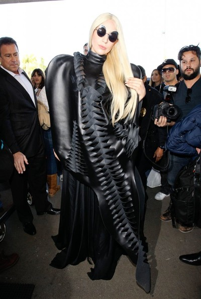 Lady Gaga Leather Dress