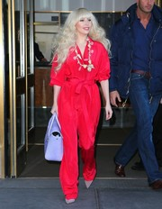 Lady Gaga surprised us with this uncharacteristically tame Valentina Kova silk jumpsuit when she stepped out in New York City.