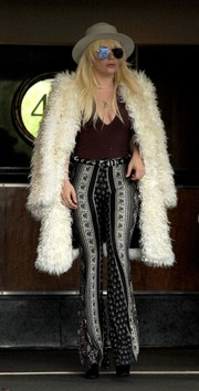 Lady Gaga was '70s-chic in printed bell-bottoms by Novella Royale while out and about in New York City.